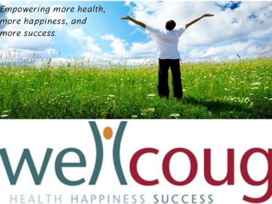 WellCoug logo and a green field with a person with their arms spread open.