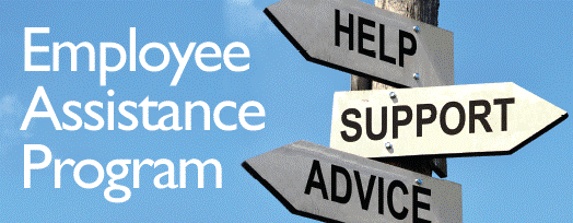 Employee Assistance Program: image of three arrow signs with the words: Help, Support, and Advice.