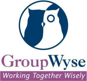 GroupWyse logo featuring a stylized owl and the text: GroupWyse Working together wisely.