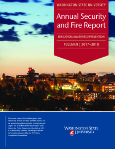 Cover of the WSU Fire Security Report showing WSU against a sunset.