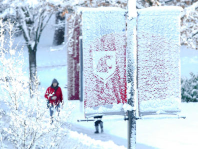 A person in a red coat walking down a snowy sidewalk with a WSU banner hanging from a lamp post in the foreground, covered in snow.
