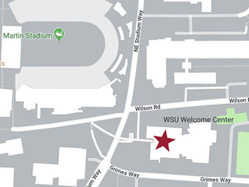 Map of the WSU campus with the French Administration Building highlighted at the corner of Wilson Road and NE Stadium Way.