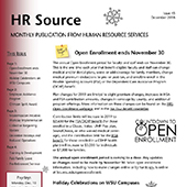 Cover page of the HRS newsletter with the title HR Source.