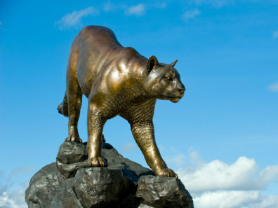 A statue of a cougar standing on a pile of rocks against a blue sky.