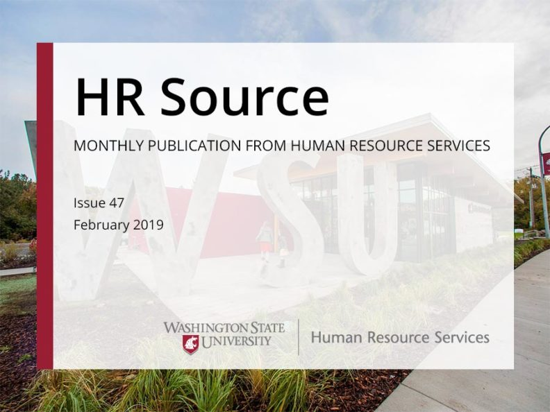 The WSU visitor center with a text overlay the says HR Source monthly publication from human resource services.