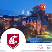 Screenshot of the HRS Twitter page featuring a campus night scene banner image and the WSU logo.