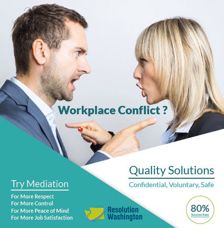 A poster featuring two people pointing their fingers at each other and yelling. The heading is: Workplace Conflict? And the poster encouraging trying mediation.