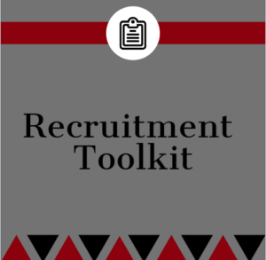 Red and white graphic with the text: Recruitment Toolkit and a clipboard icon.