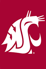 The WSU logo on a red background: a stylized cougar head.