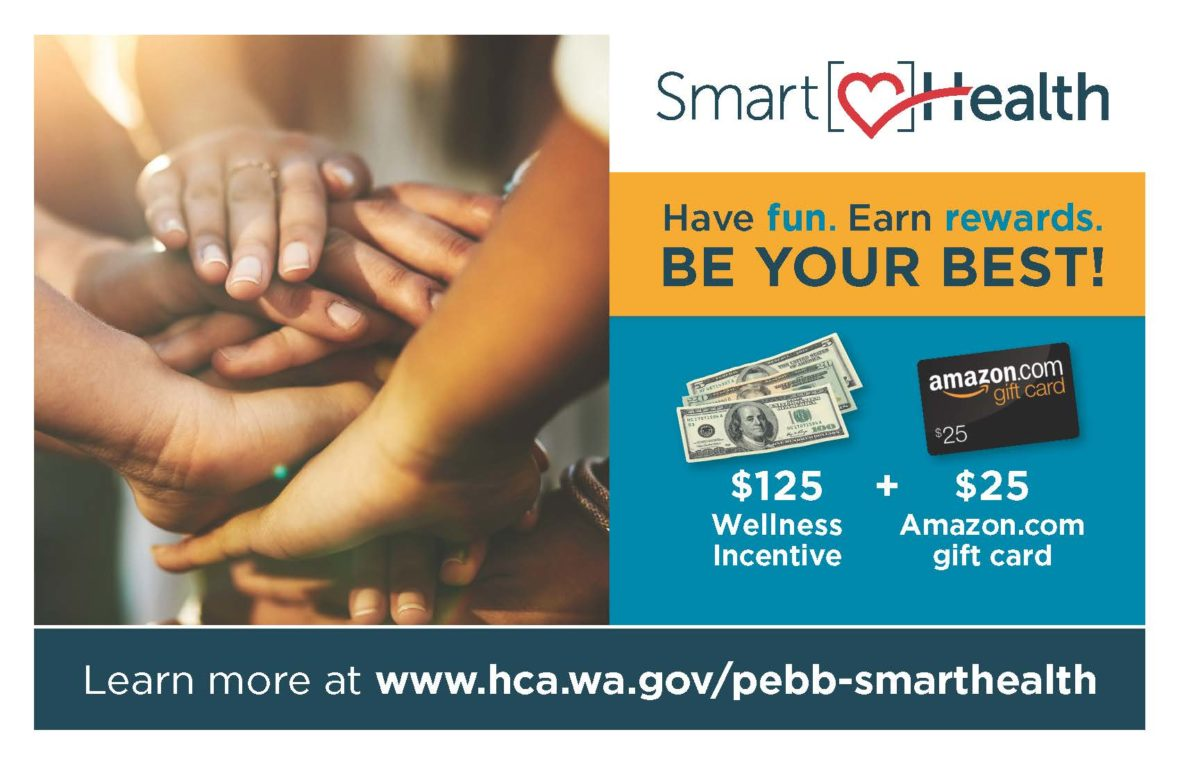 SmartHealth flyer showing $125 wellness incentive and $25 wellbeing assessment rewards