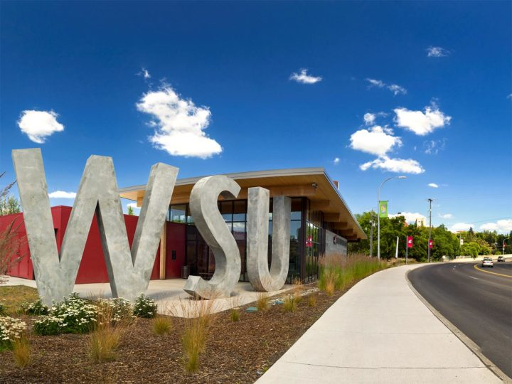 A tall sculpture of the letters W S U next to a glass-walled building.