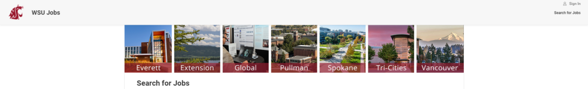 Screenshot of the WSU Jobs page highlighting the Search for Jobs link.