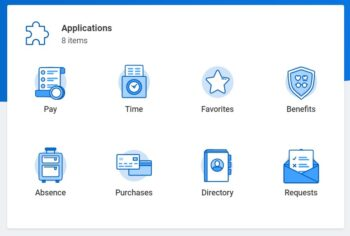 Screenshot of the Workday applications such as Time, Pay, and Benefits.