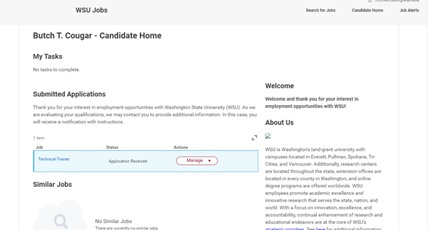 Screenshot of the WSU Jobs candidate home page.