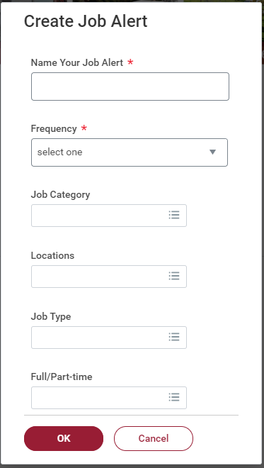 Screenshot of the Create Job Alert form.