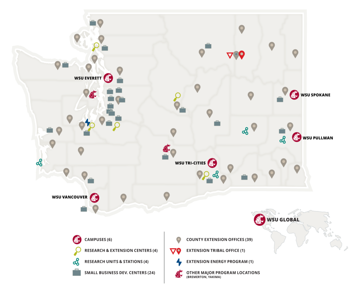 A map of Washington State showing icons indicating WSU locations all over the state.